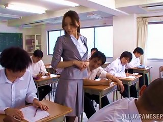 A Slutty Japanese Teacher Gives A Blowjob To Her Student
